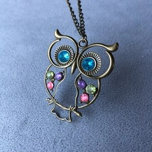Owl Pendant with Colourful Gems ~ NWT